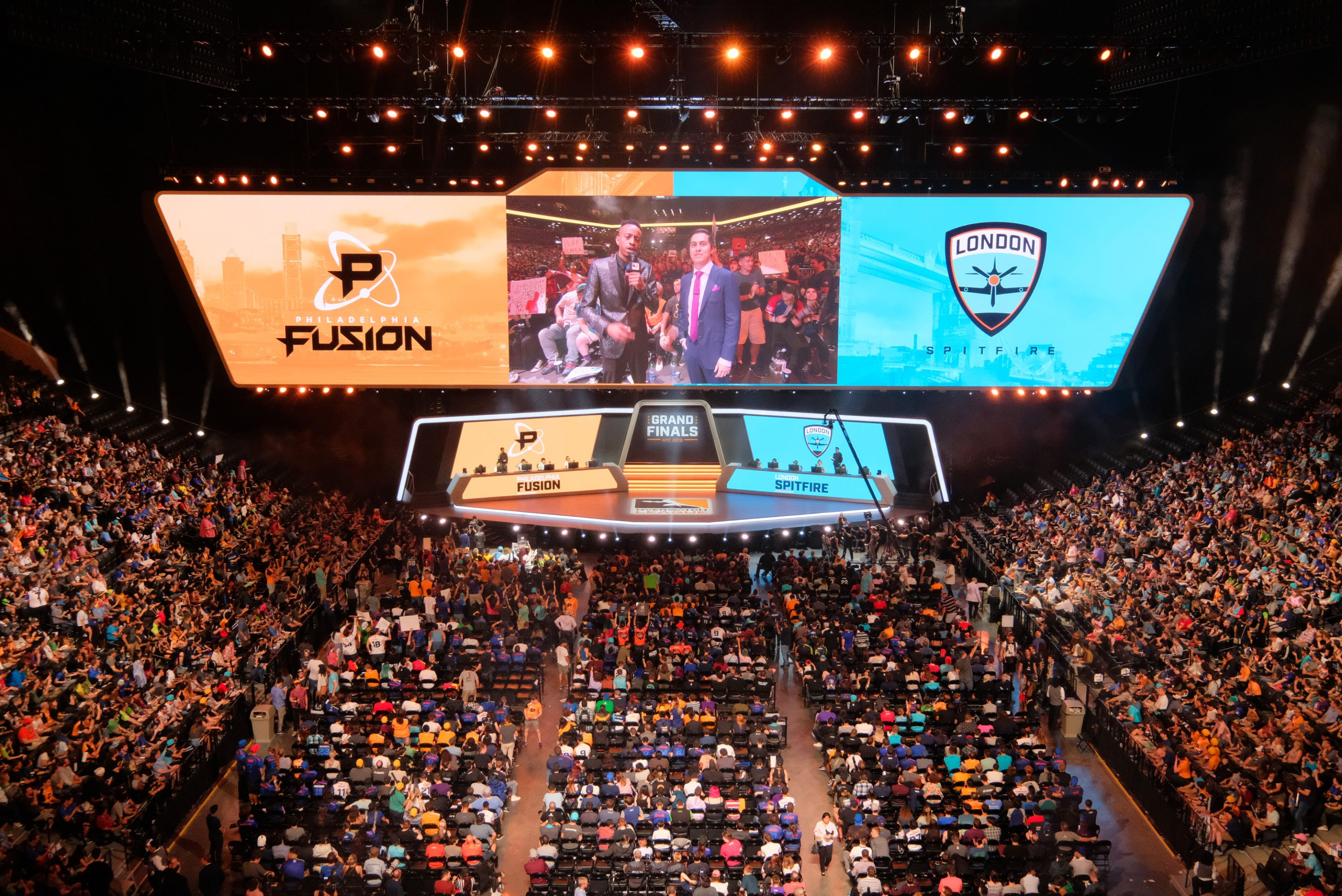 The Overwatch League Grand Finals stage. London Spitfire vs Philadelphia Fusion